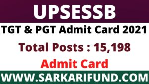 UPSESSB TGT Admit Card